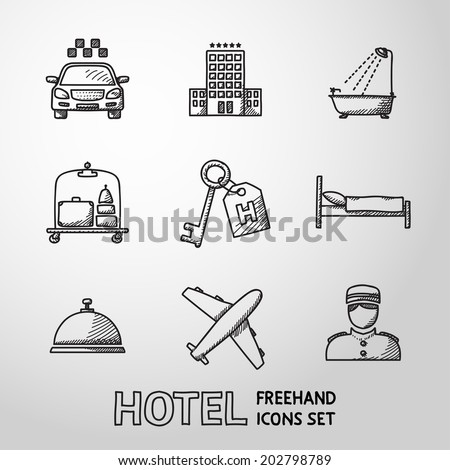 Hotel and service monochrome freehand icons set with - hotel building, service bell, bed, luggage, porter, room key, taxi cab, airplane, bathroom with shower. - stock vector