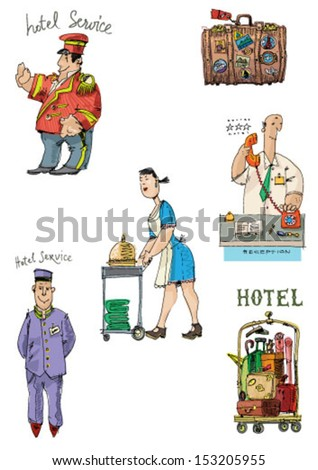 hotel associated set - cartoon - stock vector
