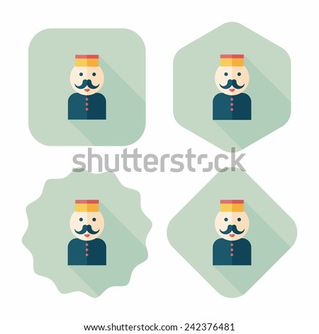 Hotel bellhop flat icon with long shadow,eps10 - stock vector