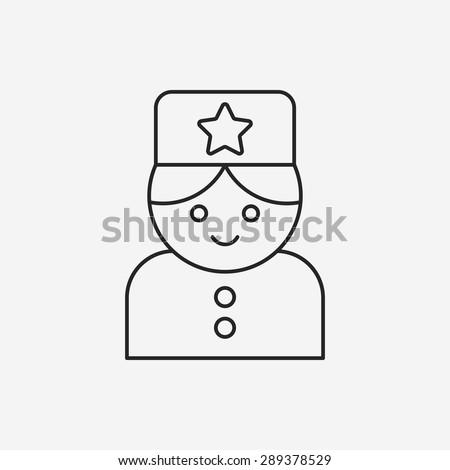 hotel bellman line icon - stock vector