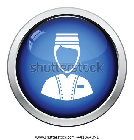 Hotel boy icon. Glossy button design. Vector illustration. - stock vector
