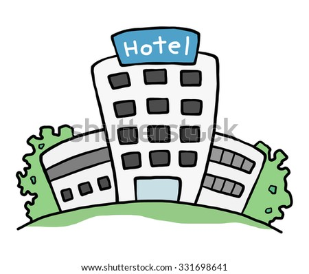 hotel building / cartoon vector and illustration, hand drawn style, isolated on white background. - stock vector
