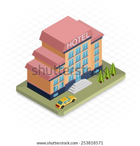 Hotel building. Isometric 3d pixel design icon.  Modern flat design. Vector illustration for web banners and website infographics. - stock vector
