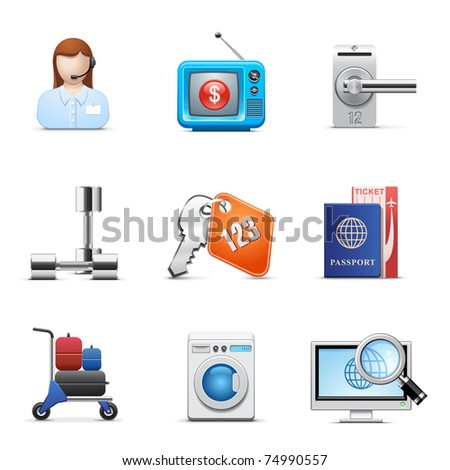 Hotel business icon set - stock vector