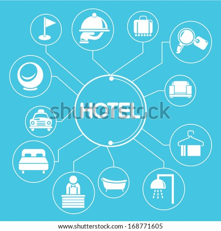 hotel concept mind mapping, info graphics - stock vector