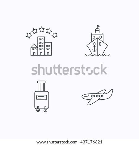 Hotel, cruise ship and airplane icons. Baggage linear sign. Flat linear icons on white background. Vector - stock vector