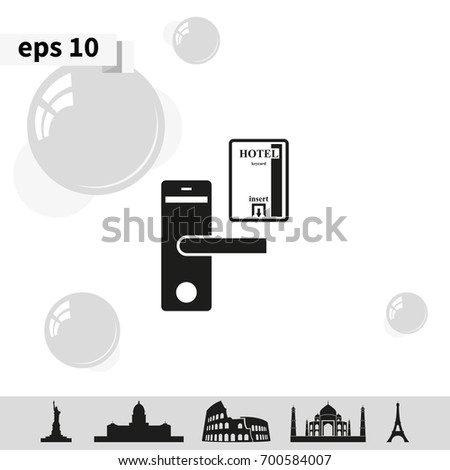Hotel door lock key card icon stock vector 700584007 shutterstock ccuart Gallery