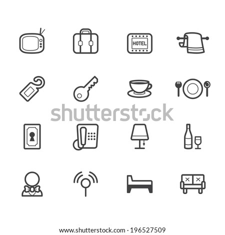 hotel element vector black icon set on white background - stock vector