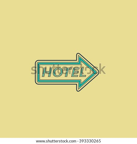 Hotel Flat line icon on yellow background. Vector pictogram with stroke - stock vector