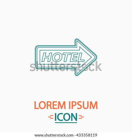 Hotel Flat thin line icon on white background. Vector pictogram - stock vector
