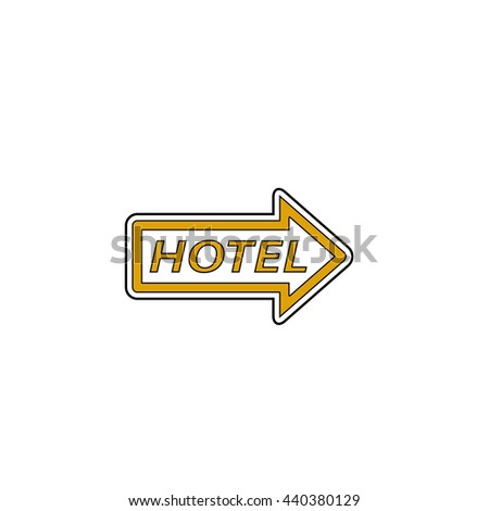 Hotel Flat yellow thin line symbol on white background. Vector icon - stock vector