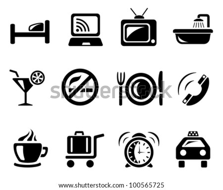 Hotel icon set - stock vector