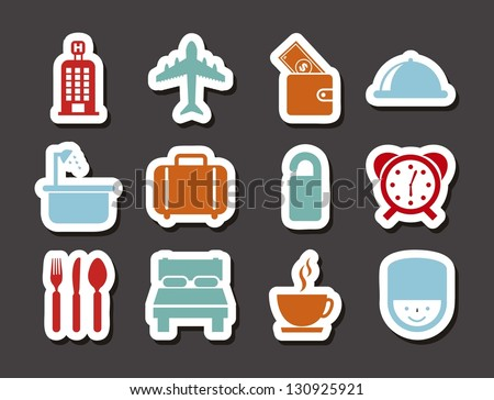 hotel icons over gray background. vector illustration - stock vector
