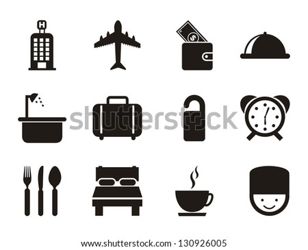 hotel icons over white background. vector illustration - stock vector