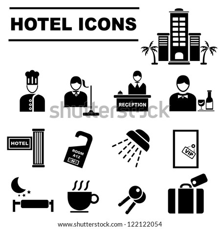 Hotel Icons Set Stock Vector 122122054