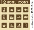 Hotel icons set in retro style - Travel Icons - stock photo