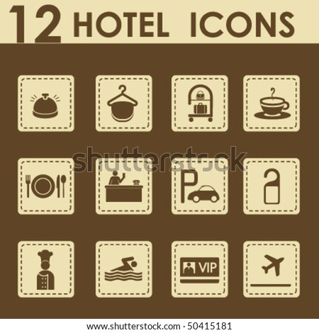 Hotel icons set in retro style - Travel Icons - stock vector