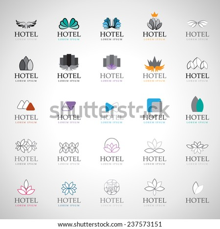 Hotel Icons Set - Isolated On Gray Background - Vector Illustration, Graphic Design, Editable For Your Design