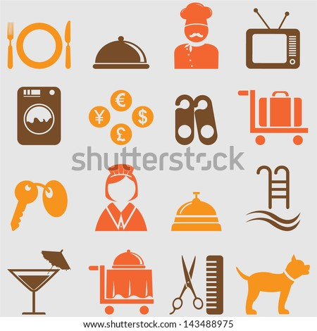 Hotel icons set. Vector - stock vector