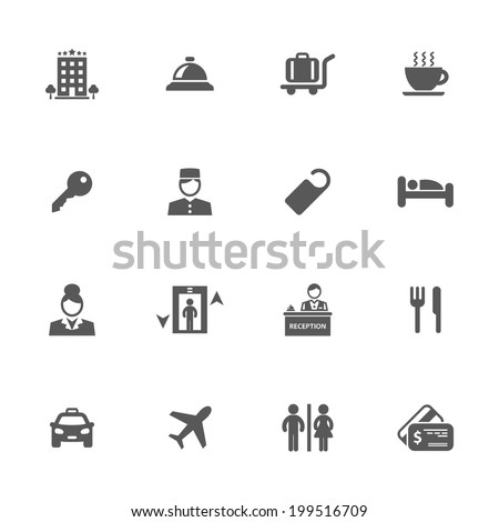 Hotel icons, vector. - stock vector