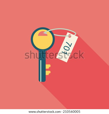 hotel key flat icon with long shadow - stock vector
