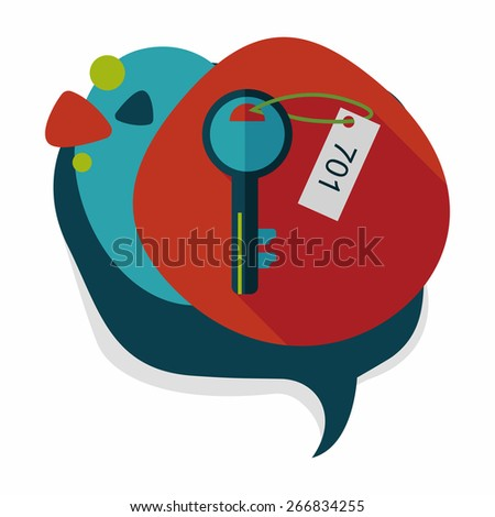 hotel key flat icon with long shadow,eps10 - stock vector