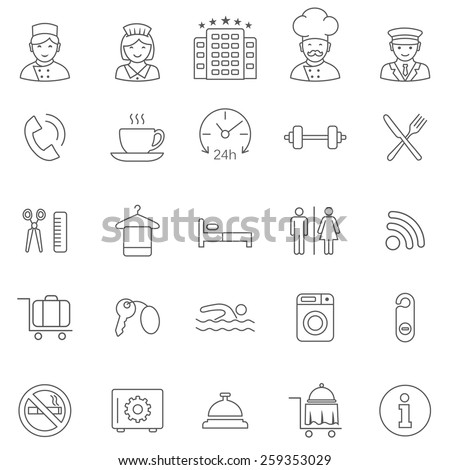Hotel line icons set.Vector - stock vector