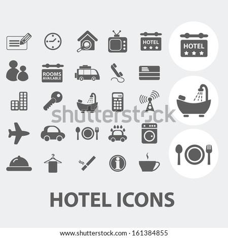 hotel, motel icons set, vector - stock vector