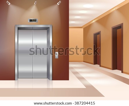 Hotel or office building hall with closed elevator door realistic vector illustration