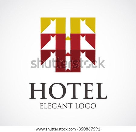 Hotel or ribbon buildings abstract vector and logo design or template luxury real estate business icon of company identity symbol concept - stock vector