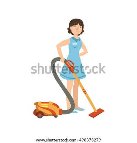 Hotel Professional Maid Cleaning The Floor With Hoover Illustration