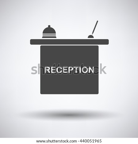 Hotel reception desk icon on gray background with round shadow. Vector illustration. - stock vector