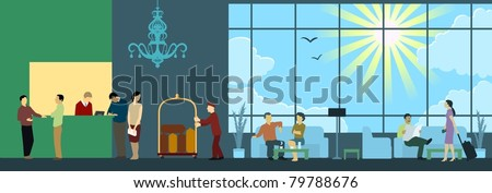 Hotel Reception Interior Scene - stock vector