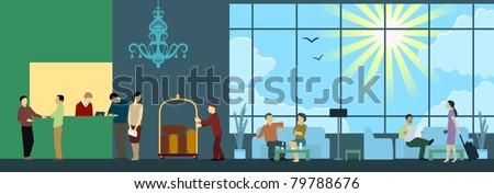 Hotel Reception Interior Scene - stock vector