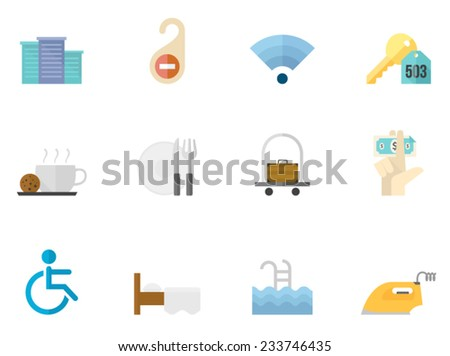 Hotel related icons in flat colors style. - stock vector