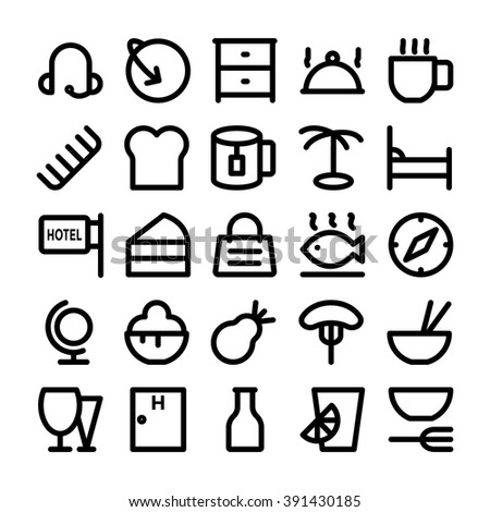 Hotel & Restaurant Vector Icons 10 - stock vector