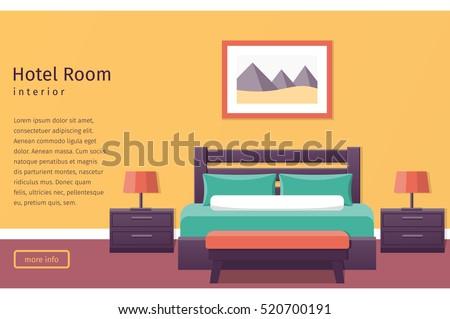 Hotel room interior in flat style  Bedroom design  Banner  Background   Vector illustration. Bedroom Stock Images  Royalty Free Images   Vectors   Shutterstock