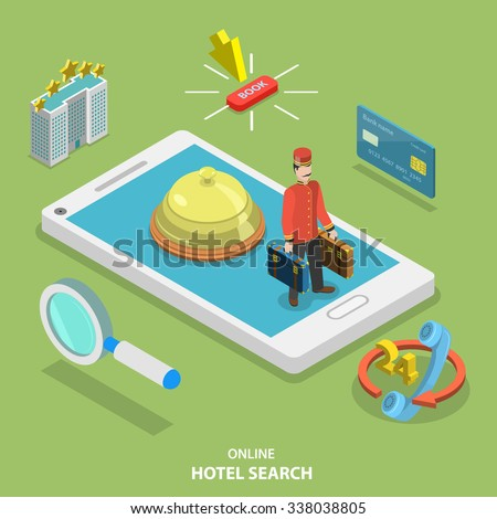 Hotel search online flat isometric vector concept. Online ticket reservation. Room booking service. - stock vector
