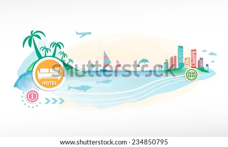 Hotel single icon on travel background. Seaside view poster.  - stock vector