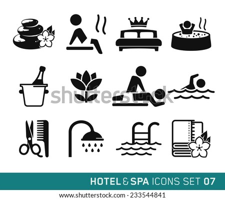 Hotel & Spa icons set // 07 - stock vector