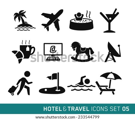 Hotel & Travel icons set // 05 - stock vector