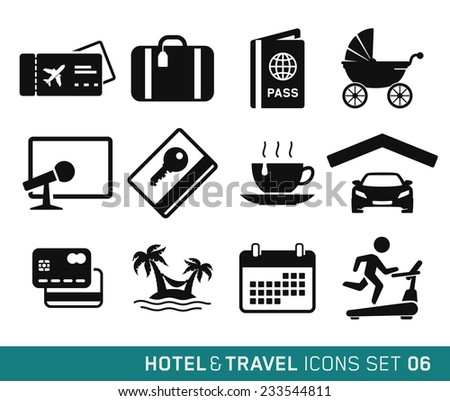 Hotel & Travel icons set // 06 - stock vector