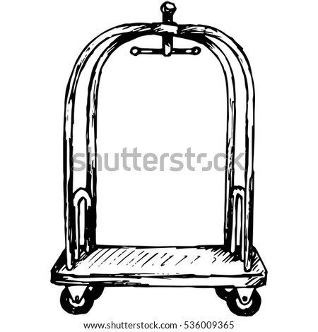 Hotel trolley. Isolated on white background. Vector, doodle style