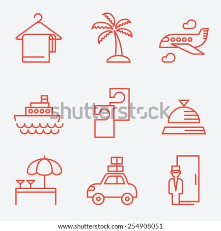 Hotels icons, thin line style, flat design - stock vector