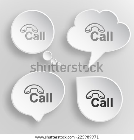 Hotline. White flat vector buttons on gray background. - stock vector