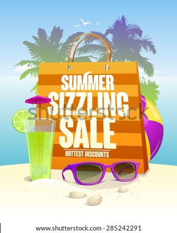 Hottest summer sizzling sale design with shopping bag on a beach backdrop with palms, cocktail and sun glasses, eps10. - stock vector