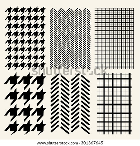 Houndstooth, Herringbone  and Windowpane check seamless pattern - stock vector