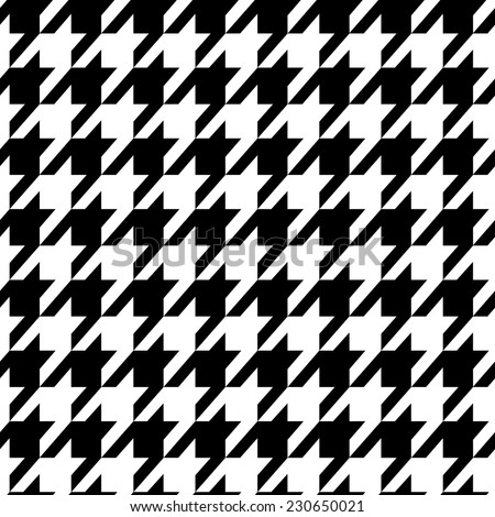 Houndstooth seamless pattern black and white. Fabric background. Vector. - stock vector
