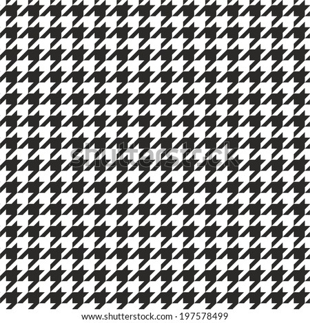 Houndstooth tile black and white pattern or vector background - stock vector