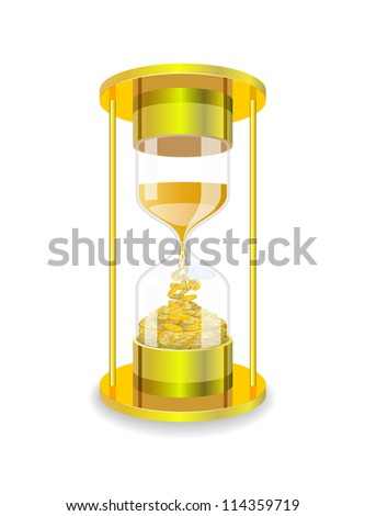 Hourglass and gold coins are shown in the image.